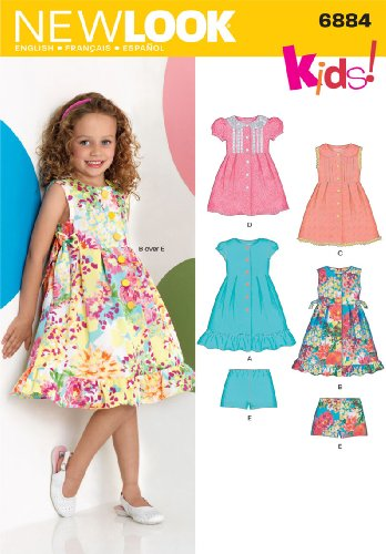 Sewing 3 Patterns - New Look Sewing Pattern 6884 Child Dresses, Size A (3-4-5-6-7-8)