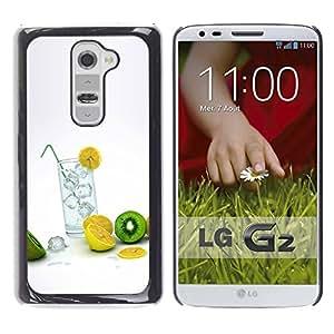 Be Good Phone Accessory // Dura Cáscara cubierta Protectora Caso Carcasa Funda de Protección para LG G2 D800 D802 D802TA D803 VS980 LS980 // Fruit Macro Lemon Kiwi
