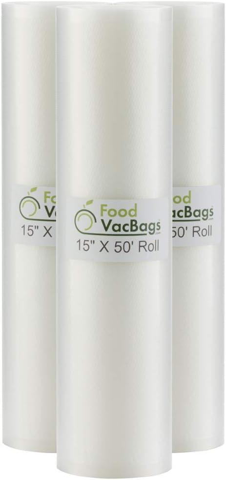 "3 - 15""x50' Vacuum Sealer Rolls Commercial Grade Embossed Vacuum Seal Bags"
