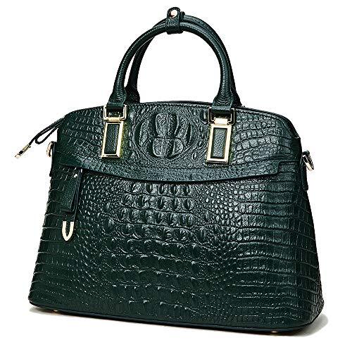 Qiwang Luxury Fashion Crocodile Tote Top Handle Cross Body Shoulder Shell Purse Handbag Bag for Women (Small, Green)