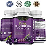 VIVA DEO Pure Elderberry Capsules – Made with Organic Elderberries – FDA Lab Tested, Fast Acting Sambucas Nigra – 60 Black Elderberry Capsules – 1150mg Elderberry Fruit Extract Per Serving