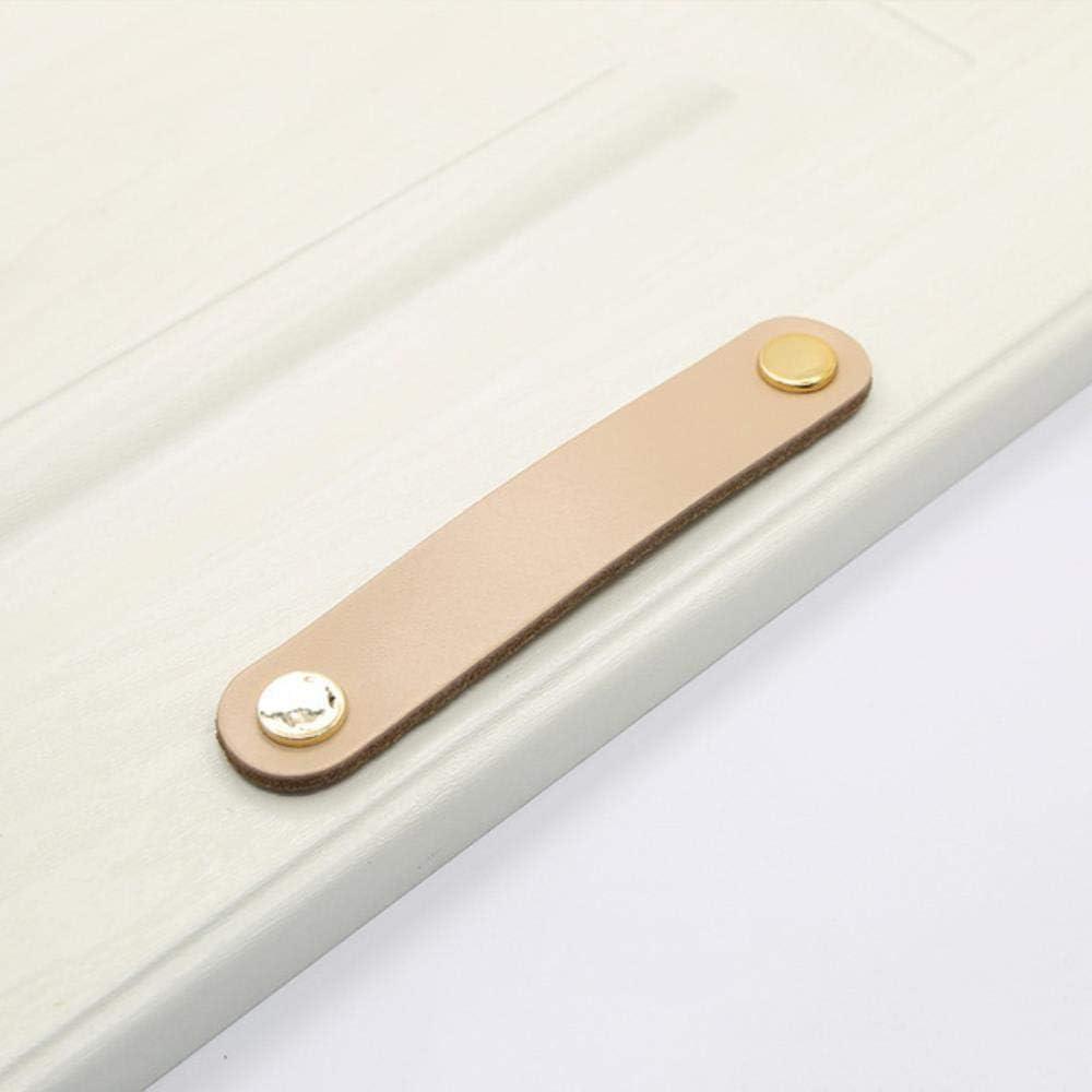 2/8 / 10pc Kits de manijas de puerta de cuero para armario Cajón Tirador Tirador Decoración de muebles, Piel, 2PCS
