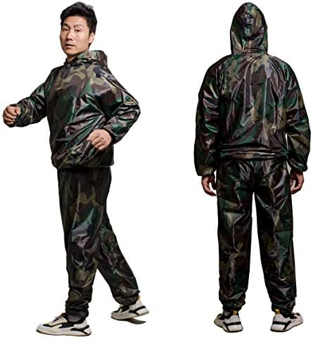 GOLD XIONG PADISHAH Sweat Sauna Suit for Men Women Zipper Anti-Rip Hoodie Weight Loss Workout Suits Camouflage and Black 1