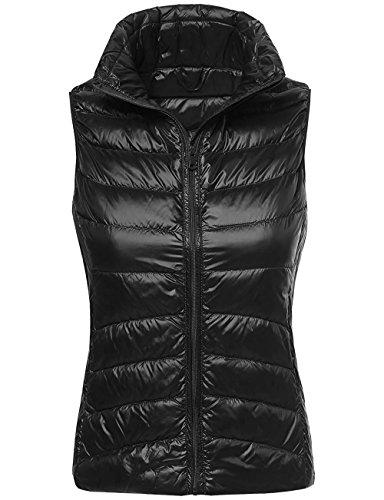 Timeless Down Vest - KOOLDO Womens Ultra Lightweight Goose Down Filled Cozy Puffer Vest-S-BLACK