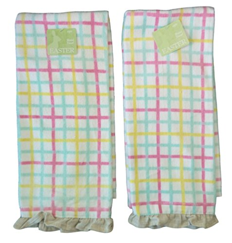 Easter Pastel Plaid Hand Towel, Pack of