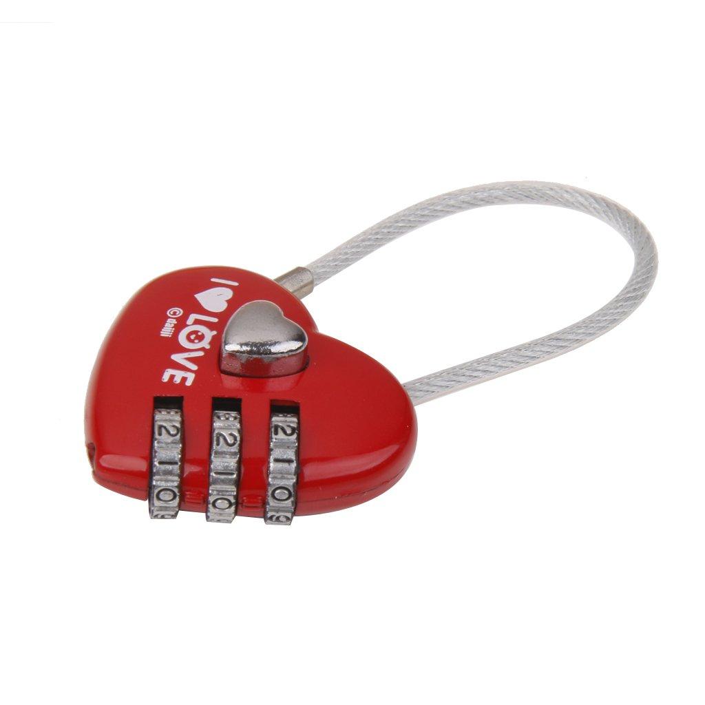 Rouge Cadenas Serrure /à Combinaison /à 3 Chiffres pour Bagage de Voyage Forme de Coeur