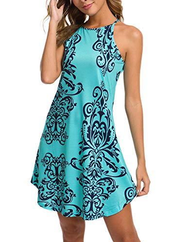 GUBERRY Sundresses for Juniors Floral Halter Casual Summer Dress Cover Up Aqua