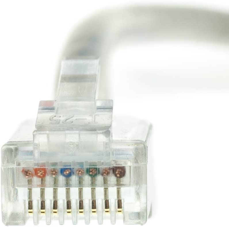 Konnekta Cable Plenum Cat5e Gray Ethernet Patch Cable Bootless CMP 50 Foot 24 AWG Pack of 5