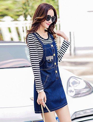 PU&PU Robe Aux femmes Denim Street Chic,Couleur Pleine A Bretelles Mini Coton / Polyester , blue-s , blue-s
