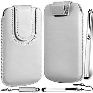 N4U Online Premium PU tirón del cuero del tirón del caso Tab cubierta de bolsa con correa de cierre magnético y 3 Pack Bundle Stylus para Samsung Galaxy Duos 2 S7582 - Blanco