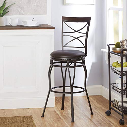 Better Homes & Gardens X-Back Adjustable Swivel Barstool, Faux Leather Seat from Better Homes & Gardens
