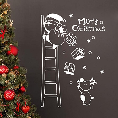 Ximandi Xmas Clearance,Christmas Wall Window Stickers Santa Claus on Ladder Xmas Vinyl Art Decoration Decals (White) (Tablecloth Vinyl Snowman)