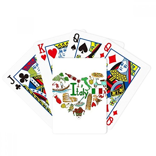 Italy Love Heart Landscap National Flag Poker Playing Cards Tabletop Game Gift by beatChong