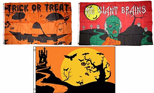 ALBATROS 3 ft x 5 ft Happy Halloween 3 Pack Flag Set #138 Combo Banner Grommets for Home and Parades, Official Party, All Weather Indoors Outdoors