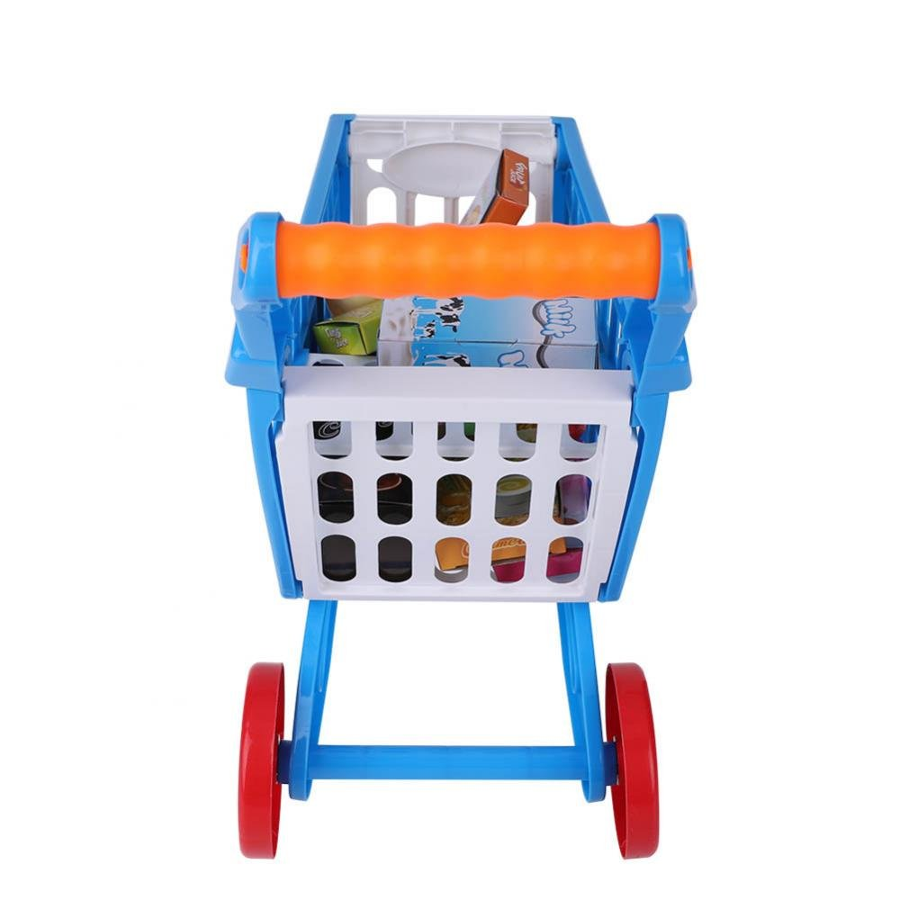 Kids Shopping Cart Precious Toys Kids Toddlers Pretend Role Play Food Fruits Playing Game with Groceries(Blue with Food) by Fdit (Image #7)