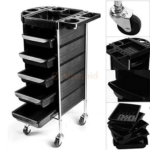 5 Layers Hairdresser Trolley,Rolling Salon Trolley Storage Cart Organizer Professional Salon Equipment Multifunctional Makeup Cart Coloring With Wheels For Stylist Beauty Spa Station Barber Shop Black