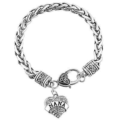 """""""Nana"""" Charm Bracelets   Adorable Nana Silver Heart Bracelet   Best Family Jewelry Gift"""