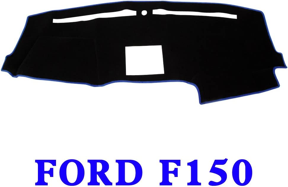 JIAKANUO Car Dashboard Dash Board Cover Mat Fit for Ford F150 2009 2010 2011 2012 2013 2014 Black-Blue MR-005
