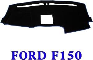 JIAKANUO Auto Car Dashboard Carpet Dash Board Cover Mat Fit Ford F150 2015 2016 2017 2018 2019 (BLK-BLU MR-037)