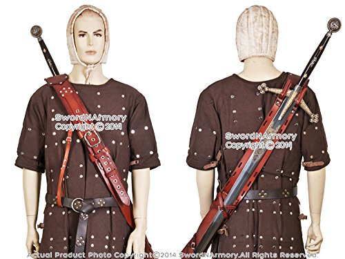 Deluxe Adult Costumes - Brown Genuine Leather Long Sword Baldric Claymore Belt Frog