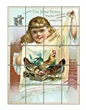New Home Sewing Machine Co Old Poster #1 Vertical Tile Mural Satin Finish 30''Hx24''W 6 Inch Tile