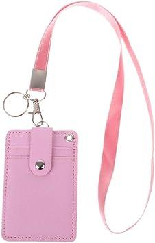 porte carte tour de cou Sqiuxia Porte cartes vertical en similicuir avec cordon tour de