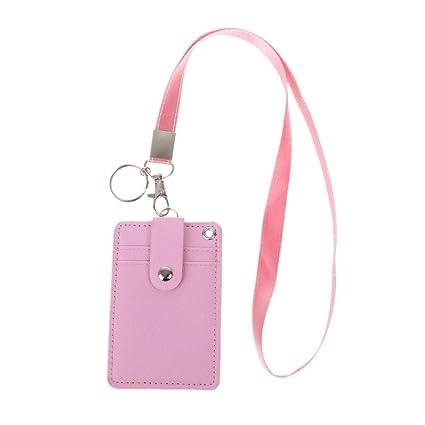 Roydoa - Tarjetero de identificación para oficina o escuela con llavero, correa para el cuello, color rosa 11x7.2cm