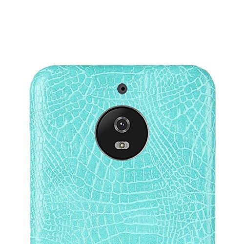 Funda Moto E4, SunFay Funda Posterior Protector de PC Carcasa Back Cover de Parachoques Piel PU Protectora de Teléfono Para Motorola Moto E4 - Azul-verde Azul Verde