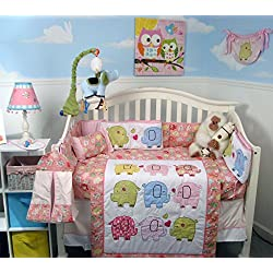 SOHO Elephant Flutter Crib Nursery Bedding Set 14 pcs