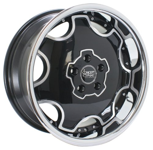 Concept One Dynasty (Series 714A) Black with Chrome Lip - 18 x 8 Inch Wheel (18 Aluminum Rims For Jeep Patriot)