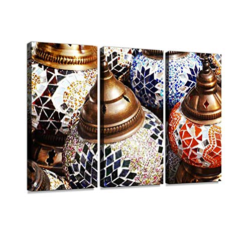 7houarts Colorful Lamps Canvas Wall Artwork Poster Modern Home Wall Unique Pattern Wall Decoration Stretched and Framed - 3 Piece