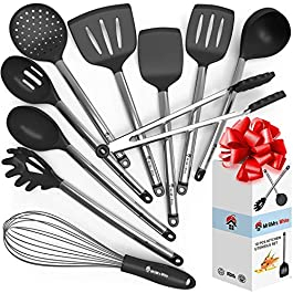 Cooking Silicone Utensils Set 10 – Best Nonstick Kitchen Cookware Utensil Sets – Large Hanging Spoons Spatula Set – Non Toxic Cook Gadget Kit Black