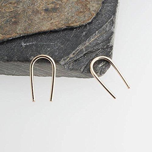 Gold Ear Hook Earring Open Teardrop Hug Hugging Arc Earrings THIN 13 x 1mm by Fashion Art Jewelry