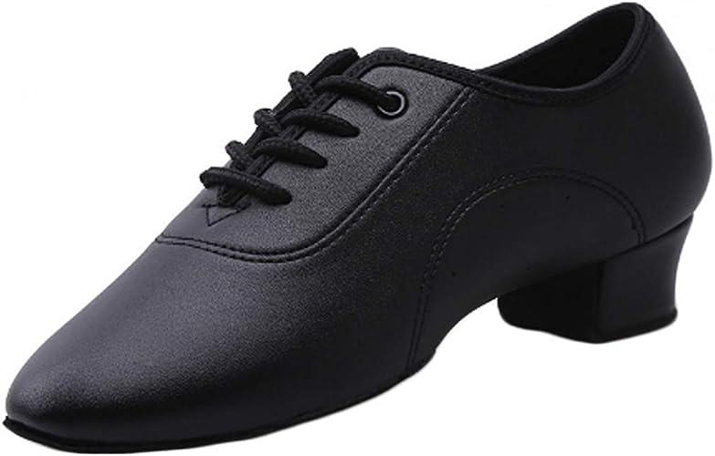 DanceNwear Mens Black Leather Ballroom Shoe