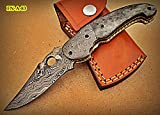 Cheap FN-A-83, Custom Handmade Damascus Steel 7.2 Inches Folding Knife – Beautiful Colored Bone Handle with Damascus Steel Bolsters