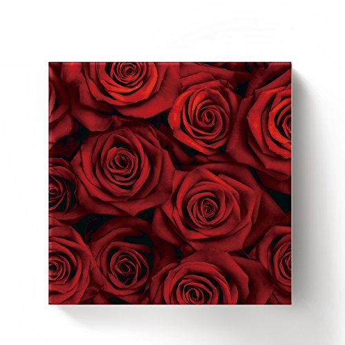 ALAGO Framed Wall Arts-Red Roses Flowers Giclee Canvas Prints Gallery Wrapped Modern Artwork Floral Pictures Paintings for Home Decoration,Square,Ready To Hang