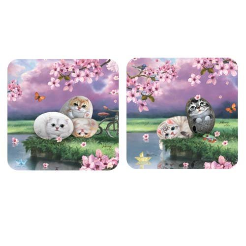 Coasters (set of 4)- Henry Cats & Friends- Cherry blossom (cats)