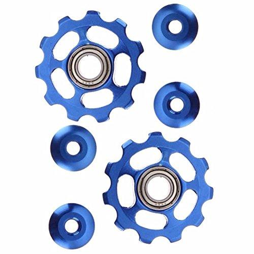 2pcs 11T Bike Aluminum Alloy Bearing Jockey Wheel Rear Derailleur(Blue) - 2