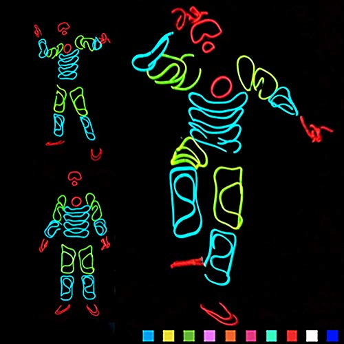 DHTW&R Glowing Clothes El Cold Light Fluorescent Dance Costume Night Show Battery Powered Lights Up Stick Figure Man Masquerade Party -