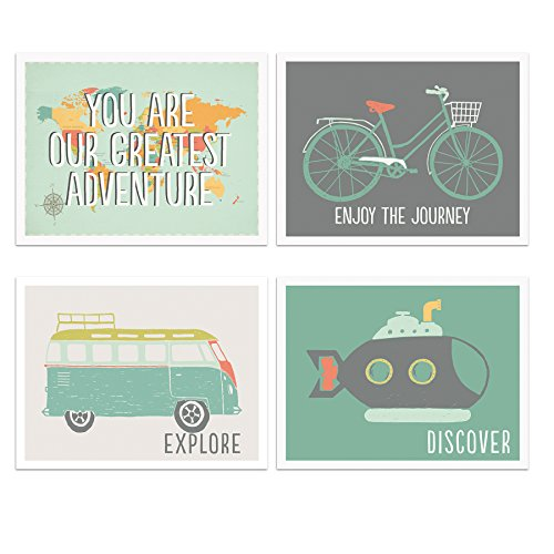 Adventure Nursery Decor Set of Four 11x14 Prints, Explore Nursery Art Bedrooms, Playrooms, or Classrooms, Kids World Map, Adventure Decor for Nurseries, Travel Nursery by Kindred Sol