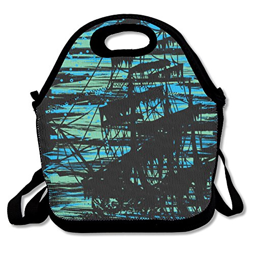 Ghostship V2 Lunch Bag Travel Zipper Organizer Bag, Waterproof Outdoor Travel Picnic Lunch Box Bag Tote With Zipper And Adjustable Crossbody Strap