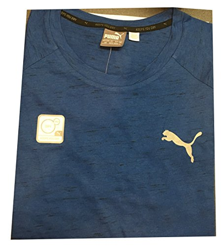 (Men's Evostripe Tee Shirt Crew Neck Keeps You Dry Large Blue Heather)