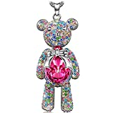 Necklace Jewelry Gifts for Women Girls Her KATE LYNN Sweetheart Teddy Bear Rose Pink Swarovski Crystal Animal Pendant Necklace Christmas Anniversary Birthday Gifts for Kids Daughter Granddaughter