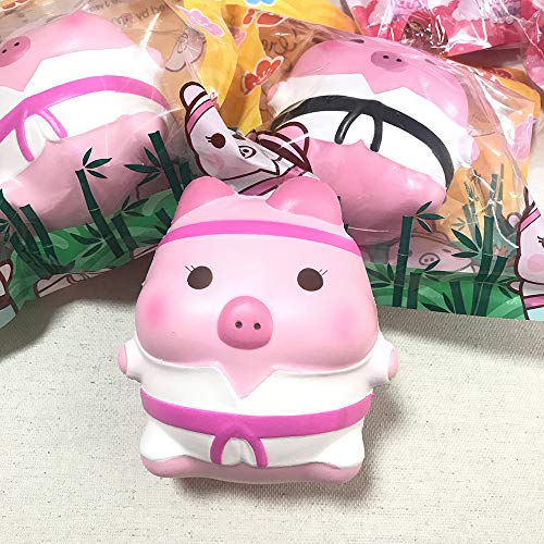 (Creamiicandy Jumbo Karate Pork Chop Marshmellii Piggie Scented Slow Rising Squishy, Big Marshmelli Pig Squishies, Stress Reliever Toy, Bag Backpack Charm)