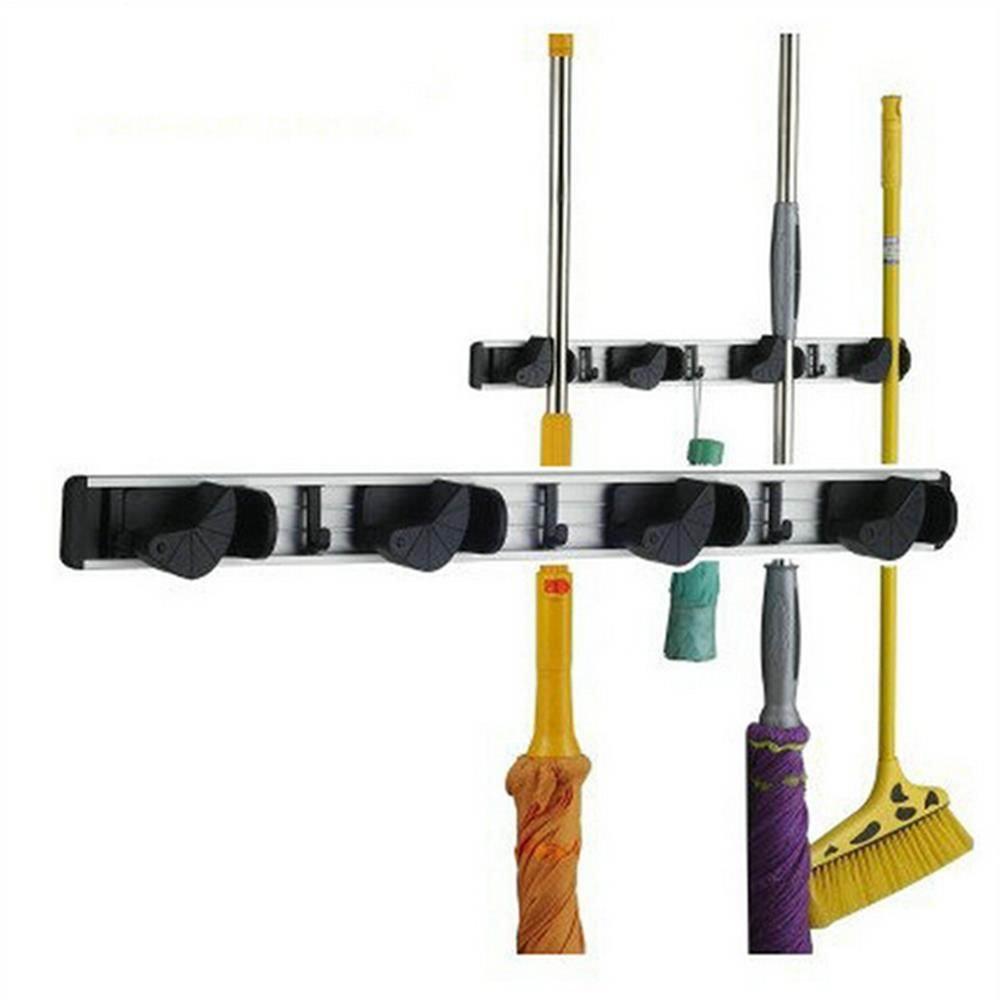 Broom Mop Dustpan Holder Organizer Garage Storage Hooks Wall Mounted, Best Tool & Closet Storage, broom Organizers Hanger / Holder with 4 Position 5 Hooks for Shelving