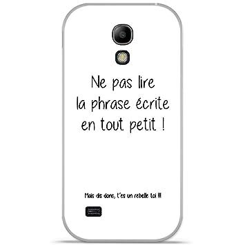 Onozo Coque Tpu Gel Souple Samsung Galaxy S4 Mini Design Citation Rebelle Texte Noir Fond Blanc