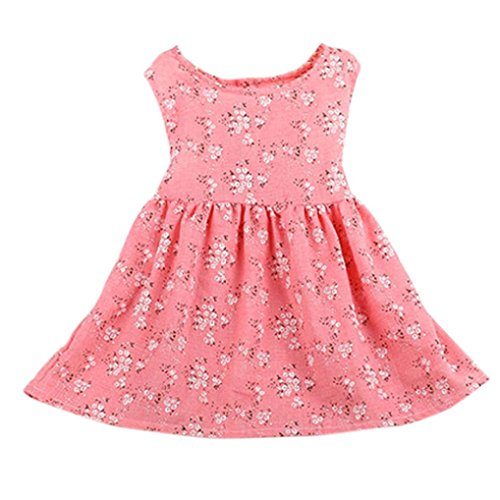 Price comparison product image Hot Baby Dress! AMA(TM) Toddler Kids Baby Girls Floral Sleeveless Princess Party Tutu Dress (5T, Pink)