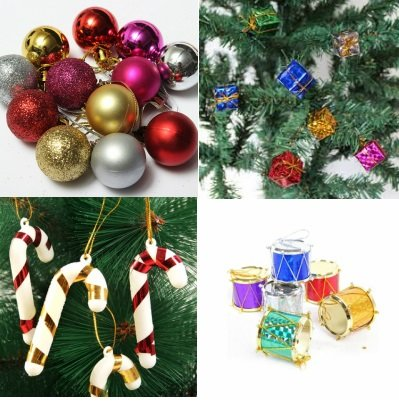 4931f80547efd Buy KRIWIN® Combo of 1 FT (12 INCHES) Christmas Tree (Table Desktop) with  10 pcs Christmas Decorations(Assorted)