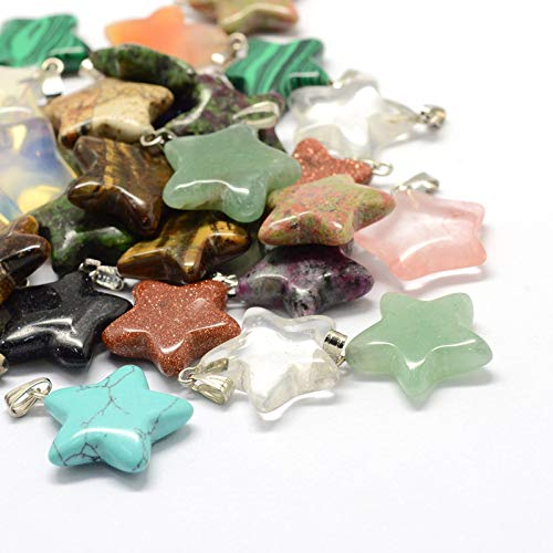 (Fashewelry 50PCS Mixed Stone Star Gemstone Pendant Healing Pointed Chakra Crystal Quartz Pendants Charms for Necklace Jewelry Making)