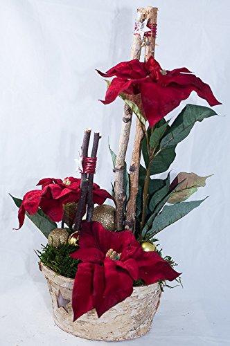 Arreglo floral con poinsettias rojas - decoración de mesa ...